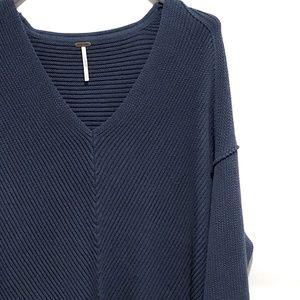 FREE PEOPLE La Brea V-Neck Sweater Blue/Charcoal L